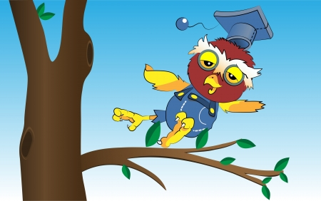 Illustration of cartoon owl, vector Vector