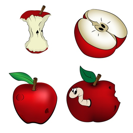 apple bite: Red apples, vector  Illustration