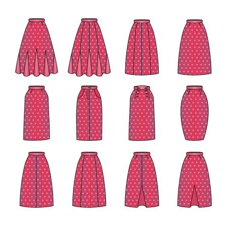skirts: set of woman skirts, vector
