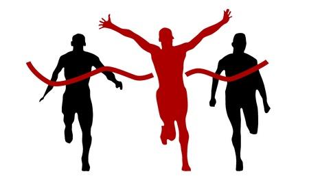 atleta corriendo: ganador en línea de meta, vector