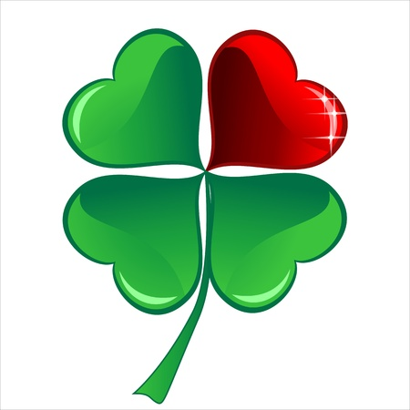lucky heart Clover, isolated on white background Illustration