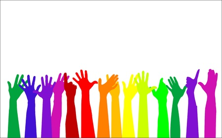 colorful raising hands Vector