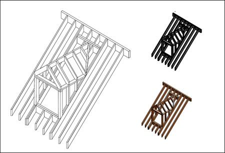 mansardowe konstrukcja dachu Ilustracje wektorowe