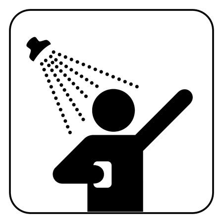 showering: shower sign  Illustration