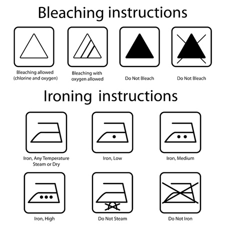 Bleaching and Ironing instruction Vector