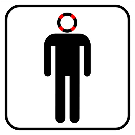 Business man with life buoy head Vector