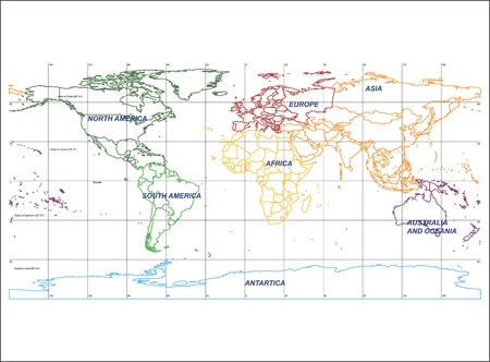 Detailed World Map with Names of Continent and Countries, isolated by group Vector