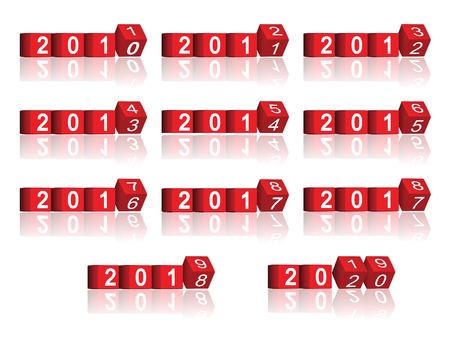 cube passing years 2011-2020, vector 版權商用圖片 - 22590551