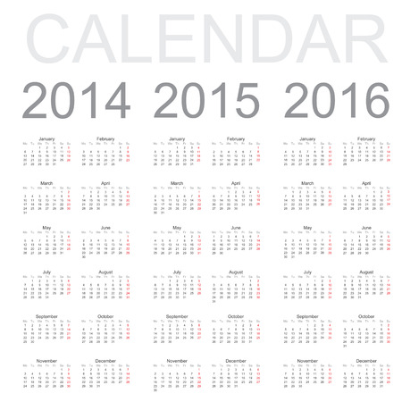 yearly: Sencillo a�o calendario 2014, 2015, 2016, vector