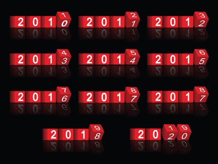 cube passing years 2011-2020, vector Vector