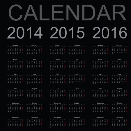two thousand thirteen: Sencillo a�o calendario 2014, 2015, 2016, vector