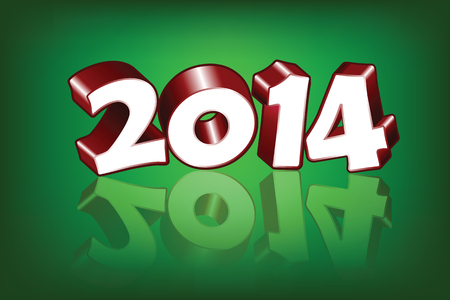 New 2014 Year greeting card, vector  Vector