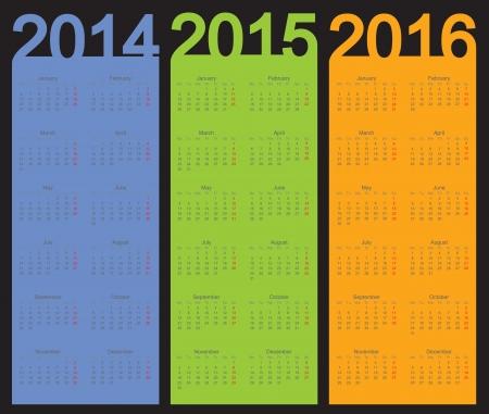 Einfacher Kalender das Jahr 2014, 2015, 2016, Vektor Standard-Bild - 22590576