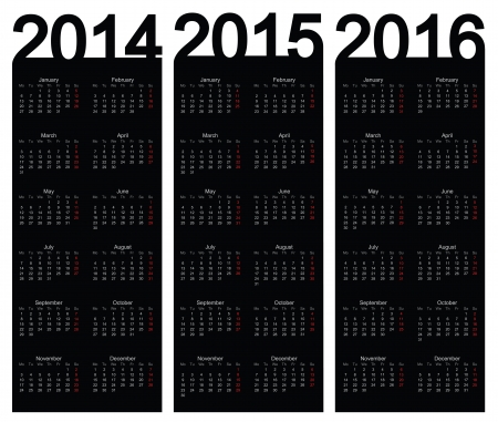 Einfache Kalenderjahr 2014, 2015, 2016, vector Standard-Bild - 22590585