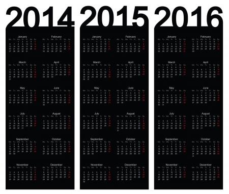 two thousand thirteen: Simple Calendar year 2014, 2015, 2016, vector
