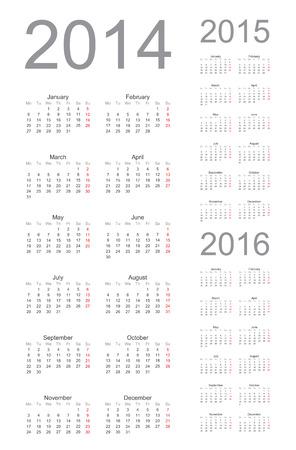 Einfache Kalenderjahr 2014, 2015, 2016, vector Standard-Bild - 22590589