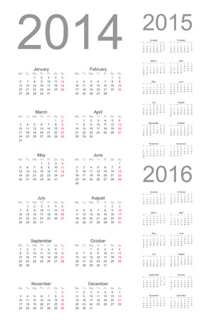 yearly: Simple Calendar year 2014, 2015, 2016, vector