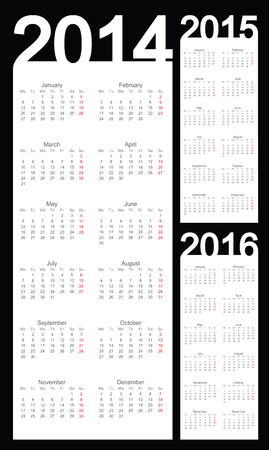 event planner: Simple Calendar year 2014, 2015, 2016, vector