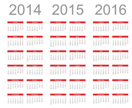 Einfache Kalenderjahr 2014, 2015, 2016, vector Standard-Bild - 22590709