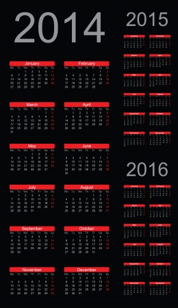 Simple Calendar year 2014, 2015, 2016, vector Vector