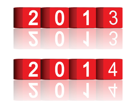 cube passing years 2013-2014, vector Vector