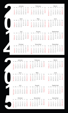 Simple Calendar year 2014, 2015, vector Vector