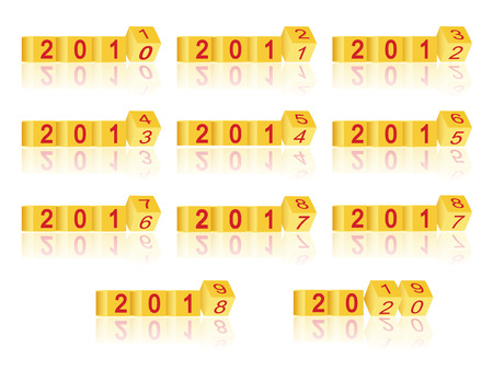 cube passing years 2011-2020, vector Illustration