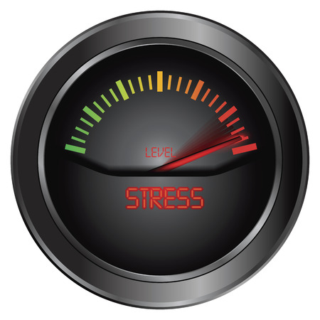 emotional stress: Stress meter indicate, vector