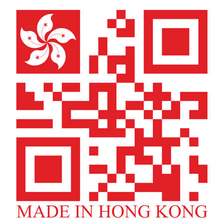 quick response: Hong Kong  QR code flag, vector Stock Photo
