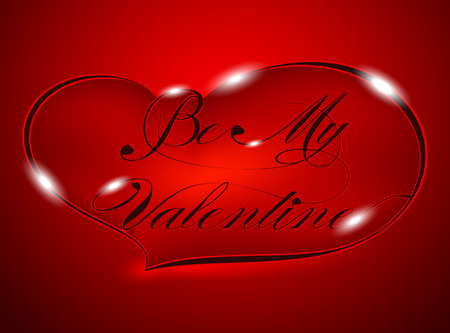"Red Greeting Card ""Be My Valentine"", vector photo"