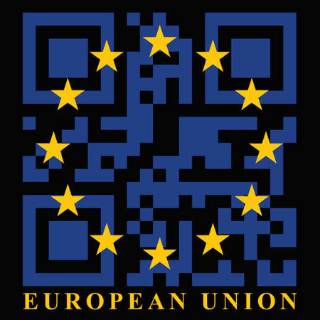 eu: EU QR code flag, vector Illustration