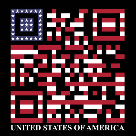 quick response code: USA QR code, vector Illustration