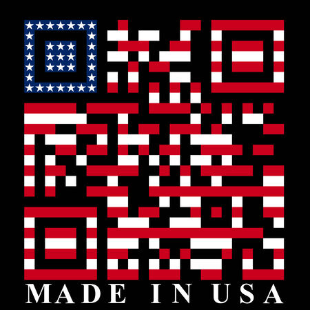 qr: USA QR code, vector Illustration