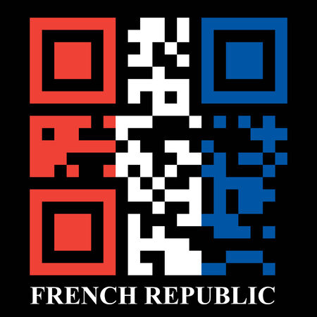 quick response code: French QR code flag, vector Illustration
