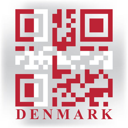 quick response: Denmark QR code flag, vector Illustration