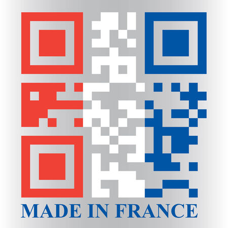 quick response: French QR code flag, vector Illustration