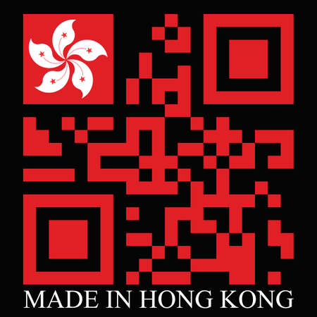 quick response: Hong Kong  QR code flag, vector Illustration