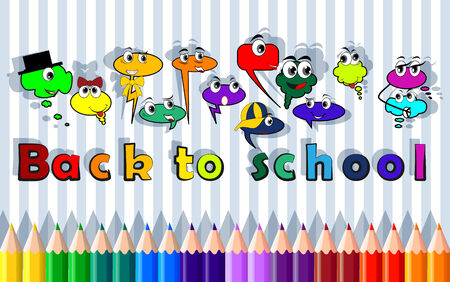 back link: Back to school, bubble characters - social network, vector