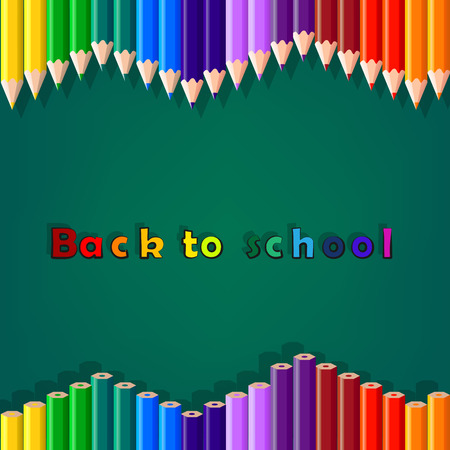 Back to school, colorful pencil, background, vector Vector