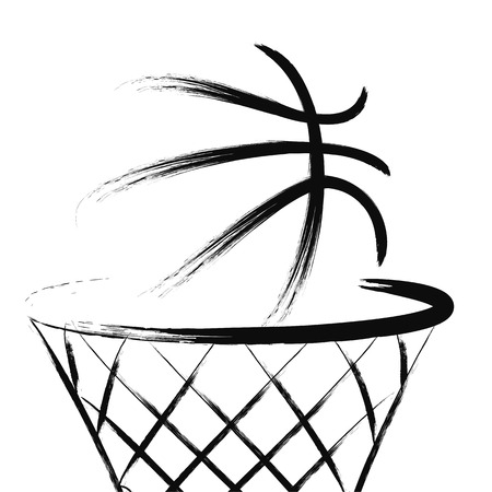 hand baskets: Basketball, vector Illustration
