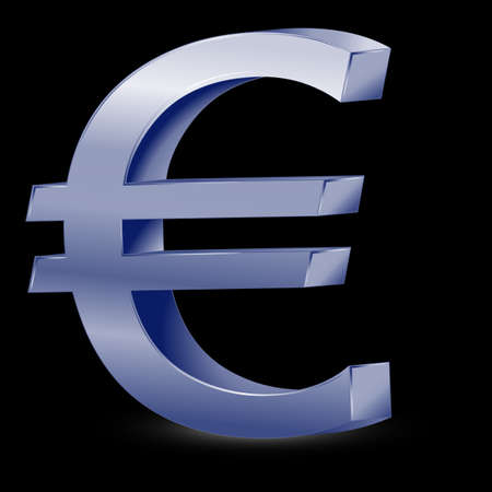 Vector metallic euro sign isolated on white background, vector Vector