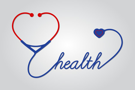 stethoscope with heart, medical symbol, vector