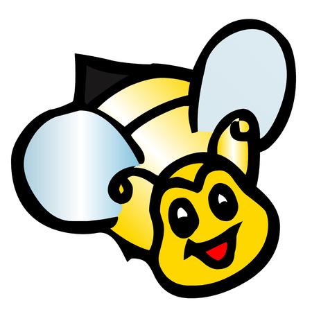 pollinate: illustration of isolated cartoon bee on white background