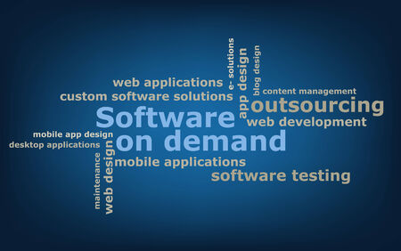 to keyword: keyword  Software on demand wordcloud, vector
