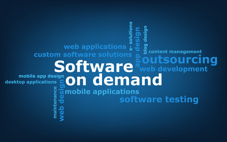 demand: keyword  Software on demand wordcloud, vector