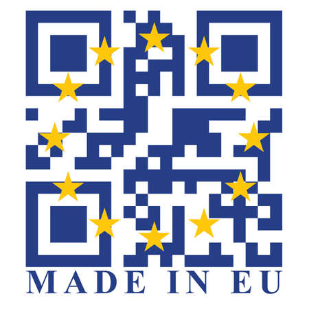 quick response: EU QR code flag, vector Illustration