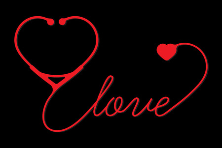 stethoscope heart with love vector