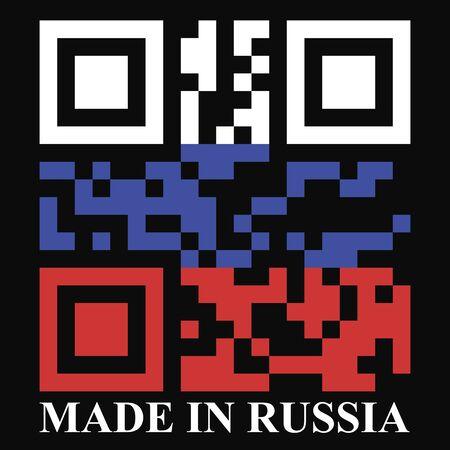 qr code: Russia QR code flag vector