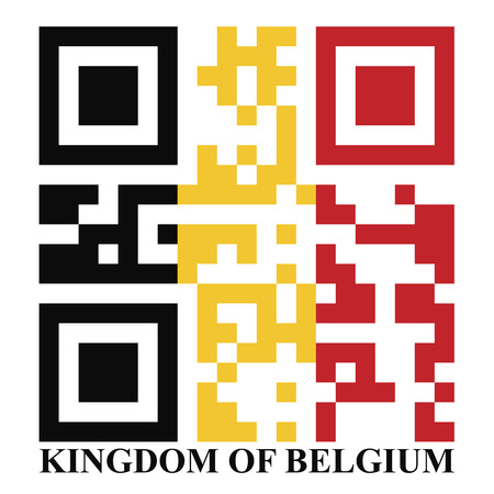 quick response: Belgium QR code flag vector Illustration