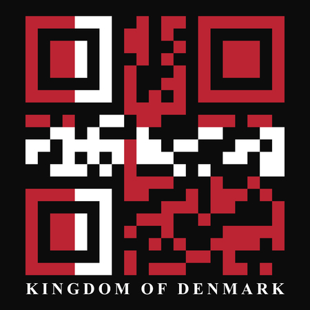 qr code: Denmark QR code flag vector